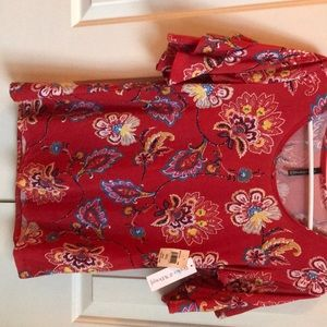 Red,gold,blue print blouse,